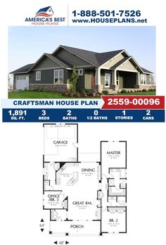 Featuring 1,891 sq. ft., Plan 2559-00096 is highlighted with 3 bedrooms, 2 bathrooms, the side entry garage feature, a kitchen island, and an office layout. Learn more about this Craftsman house plan on our website. Craftsman Style Homes, Craftsman House Plans, Crawl Space Foundation, Exposed Rafters, Double Window, Garden Tub, Open Layout, Window View, Walk In Pantry