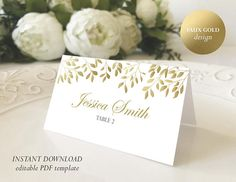 Faux Gold Place Card Template Printable Escort card