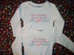 personalized twin girl onesies by PeekABua on Etsy