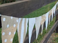 9 foot burlap Party Banner garland bunting pennant by funkyshique