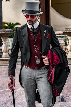 Steampunk gothic suit, black tailcoat with Prince of Wales grey trousers Outfits Casual, Mode Outfits, Fashion Outfits, Hipster Outfits, Country Outfits, Gothic Fashion, Mode Steampunk, Steampunk Clothing, Gothic Steampunk