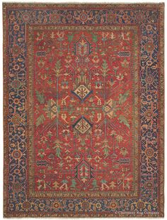 Serapi Heriz, 9ft 0in x 12ft 2in, Circa 1910.  A rarely seen allover pattern and wonderfully vivid, saturated colors imbue this celebrative antique Persian Serapi Heriz carpet with tremendous presence and a highly individual personality. An exuberant color palette includes naturally dyed striated crimsons and leaf greens. This 100-year-old Oriental art carpet with its irrepressible folk art energy would provide decades of enjoyment in a casual decor.