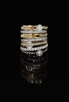 Diamond Stacking Rings  A selection of diamond stacking rings, from the Jessica McCormack Select Collection. Set with round-brilliant diamonds, mounted in yellow gold, white gold and silver.