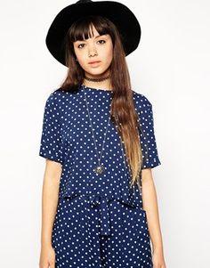 ASOS Reclaimed Vintage – CO-ORD – Übergroßes gepunktetes kastenförmiges T-Shirt