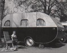 Vintage Photo Travel Trailer Mobile Vacation Snapshot Happy Camper