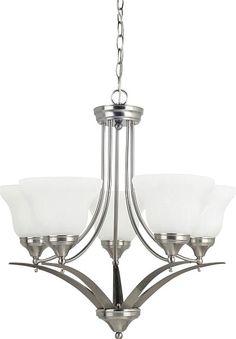 Chandelier - Brockton Five Light Chandelier in Brushed Nickel with White Alabaster Glass #lighting #lights