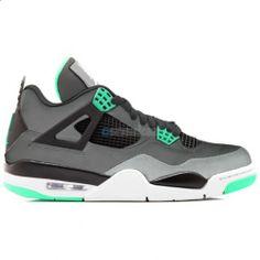Air Jordan Retro 4 Dark Grey Green Glow-Cement Grey-Black  $102.00 http://www.theredkicks.com