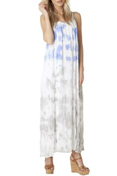 Crinkle maxi dress with blue and grey tie dye pattern. Cute braided neckline detail. Built in lining. Fits true to size but is meant to have a loose fitting look. Great with a cute pair of flats or summer wedges.  Yest Maxi Dress by Yest. Clothing - Dresses - Maxi Canada