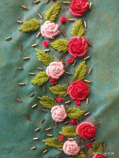 Discover thousands of images about Stunning floret lata design hand embroidery thread work. Embroidery On Kurtis, Hand Embroidery Videos, Hand Embroidery Flowers, Kurti Embroidery Design, Owl Embroidery, Hand Work Embroidery, Flower Embroidery Designs, Creative Embroidery, Silk Ribbon Embroidery