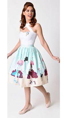 Unique Vintage 1950s Pastel Beauty Salon High Waist Circle Swing Skirt