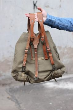Canvas Leather Rucksack Backpack, Vintage Khaki Green Czech Army Rucksack, 1970s Military Bag, Large Backpack