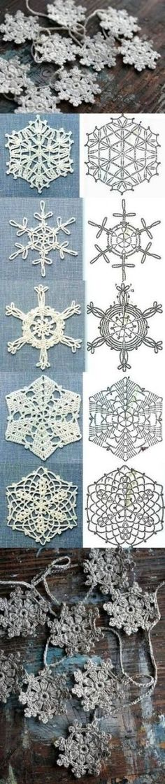 DIY крючком снежинки на Latasha
