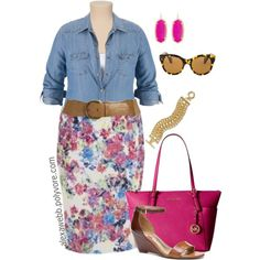 Plus Size - Floral & Chambray by alexawebb on Polyvore featuring LOFT, MICHAEL Michael Kors, Kendra Scott, Banana Republic, Old Navy and Oliver Peoples