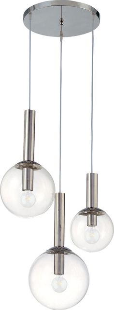 Bubbles 3-Light Pendant, a playful, casually yet classic icon of mid-century modern lighting design is of infinite variety and proportions. Its straightforward clarity echoes the modern pathos of form