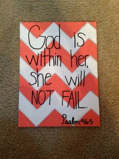 God is within her she will not fail Psalm 46:5 coral and white chevron quote canvas