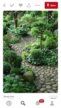 A gorgeous river rock pathway imitates water in a brook. #fengshuiyourgarden Www.bluelotusfengshui.com
