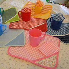 Para el jardín! Sets mantel + toallita + servilleta + taza + jabón con nombre! - 01