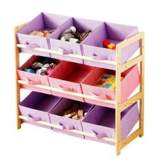 Storage Unit With 9 Pastel Coloured Canvas Bins BEDROOM PLAYROOM TOYS OFFICE