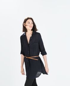 Image 2 of SHIRT DRESS WITH BELT from Zara