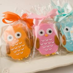 Owl Cookies Party Favors  18 cookies gift bagged and by TSCookies, $45.00