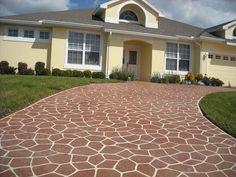 Best Concrete Paint, Stenciled Concrete Floor, Painting Concrete, Concrete Floors, Eifs Stucco, Stucco Paint, Driveway Paint, Driveway Design, Concrete Coatings