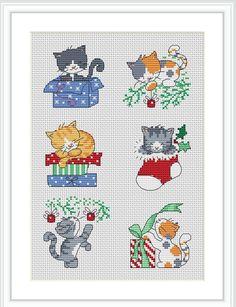 Christmas Kittens Cross Stitch Card Patterns / Christmas Cross Stitch PDF Pattern / Counted Cross S Cross Stitch Christmas Cards, Xmas Cross Stitch, Cross Stitch Cards, Christmas Quilting, Cat Cross Stitches, Cross Stitching, Cross Stitch Embroidery, Cross Stitch Designs, Cross Stitch Patterns