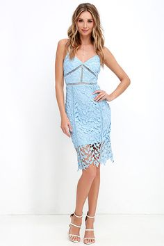 There's nothing as intense as falling in love, except maybe the Burning Desire Light Blue Lace Dress! This sexy light blue dress features a fitted triangle bodice covered in lace, with intricate sheer accents under the bust and along the waist. Midi sheath skirt. Adjustable spaghetti straps. Exposed silver zipper at back.
