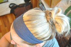 Make a simple fabric headband - cut a sleeve from a mens t-shirt as wide as you like and its a perfect fit