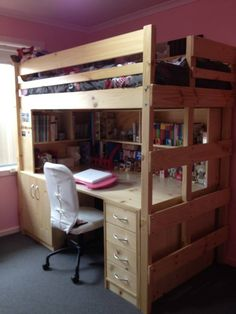 huge desk plus storage and sleeping all in the space of one bed bunkers