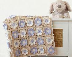 CROCHET PATTERN: Flowery baby blanket pattern/ Crochet baby afghan pattern/ crochet pdf pattern and step-by-step tutorial Granny Square Häkelanleitung, Granny Square Crochet Pattern, Crochet Blanket Patterns, Granny Squares, Crochet Cushions, Crochet Pillow, Baby Blanket Crochet, Afghan Crochet, Crochet Motifs