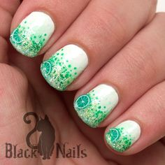 Fuzzy Mojito Fantasy Nail Art - Green gradient nails using Sally Hansen Fuzzy Coat, a fimo lime and craft glitter. Great for summer!