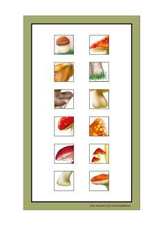 Tiles for the mushroom puzzle game. Find the belonging board on Autismespektrum on Pinterest. By Autismespektrum.