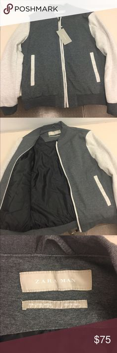 Men's College Bomber Jacket Size L Brand NEW Men's College Style Bomber Jacket in Grey and Cream. Zip fastening. Contrasting exterior pockets. Contrasting stretch knit cuffs. SIZE LARGE. BRAND NEW. NEVER WORN. Bought it as a gift but didn't fit and I threw away the price tag. Zara Tag is still in place. Zara Jackets & Coats Bomber & Varsity