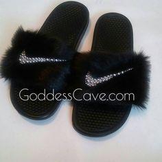 6061e83b5 Fur Nike Slides by GoddessCave on Etsy
