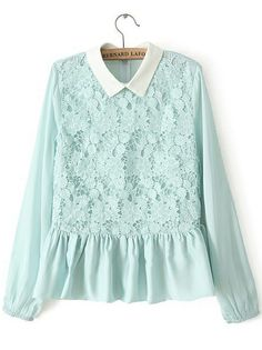 Green Lapel Long Sleeve Ruffle Lace Blouse GBP£20.17