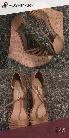 "Neutral Brown Steve Madden Wedge ""Grateful"" Only worn twice!!  size 8 Steve Madden wedge! Beautiful nude/brown color with adjustable ankle strap. Steve Madden Shoes Wedges"