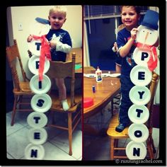 **would also be a cute gift spelling out the last name**  Snowman name craft for kids~ fun activity for holiday guests during the holidays or kids in a classroom!