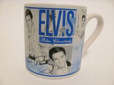 RARE ELVIS PRESLEY BLUE CHRISTMAS LARGE COFFEE MUG CUP TEA COLLECTIBLE KITCHEN