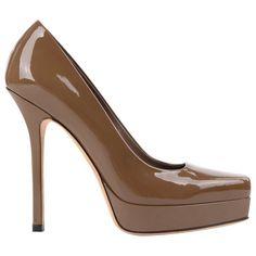 c97ba81c038 For Sale on - Gucci  Tile  saddle brown patent leather platform pumps.