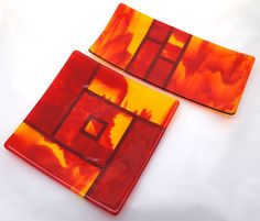 Red Orange Yellow Fused Glass Art Plate Home Decor by ModMixArt