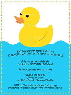 Rubber Ducky Birthday Party Invitation