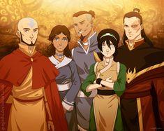 Aang, Katara, Sokka, Toph, and Zuko all grown up :) <3