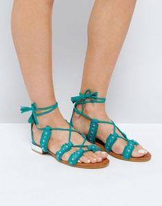 Glamorous Stud Tie Up Flat Sandals