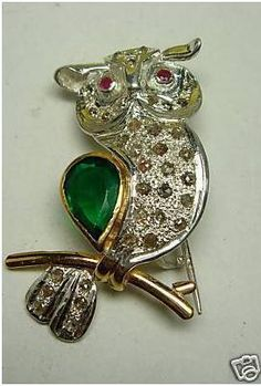 """Signature Victorian Collection....known for its international taste and appeal!    """"Owlie""""...only $1,600 or P70,400!! 1.40ct Diamond, Emerald & Ruby Owl Brooch cum pendant! Imported, world-class quality, not pre-owned, not pawned, not stolen. We deliver worldwide <3"""
