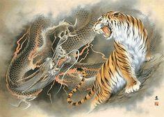 Japanese Tiger Art   Ozuma Kaname : Dragon and Tiger 小妻要「龍虎図」