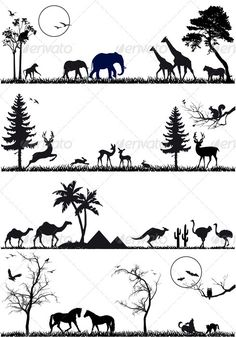 Deer Silhouette Cliparts, Stock Vector And Royalty Free Deer Silhouette Illustrations Silhouette Painting, Animal Silhouette, Silhouette Vector, Hirsch Silhouette, Tree Illustration, Vector Background, Nursery Art, Clipart, Art Drawings