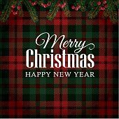 Merry Christmas greeting card, invitation with Christmas tree branches and red berries border. Illustration about plaid, cloth, christmas - 79764618 Merry Christmas Greetings, Merry Christmas And Happy New Year, Christmas Greeting Cards, Christmas Ad, Red Plaid, Tartan, Checker Background, Invitation Cards, Invitations