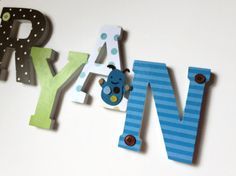Nursery Wooden Wall Letters -Custom, Nursery, Kids Rooms,6 Inch Letters,  Brown, Blue, and Lime Monster Theme on Etsy, $9.00