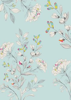 floral : Noveau Neon print & pattern surface pattern design Wallpaper and fabric by Hackney & Co