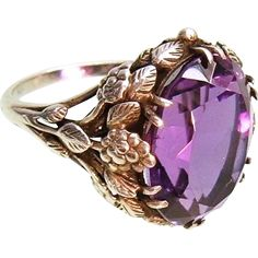 This magnificent hand made sterling silver ring is one of the earliest work of the British Icon - Bernard Instone. Admirable sophisticated foliage -- found at www.rubylane.com @rubylanecom #VintageBeginsHere #amethyst
